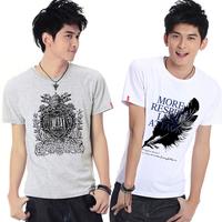 Summer plus size teenage boys short-sleeve summer T-shirt Men men's gulps half 100% cotton clothing clothes