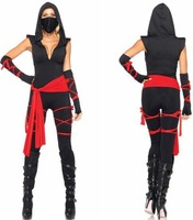 2013 New Sexy Women's Black Deadly Ninja Samurai Catsuit and Mask Adult Halloween Costume