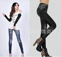 2014 New Fashion Skeleton Printed Leggings Women's Imitated Jeans Pants High-elastic Trousers Blue Black LJ-008