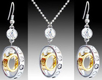 Wholesale-free shipping-New arrived Fashion Jewelry 18KGP plated Circle crystal Earrings+Necklace jewelry sets ES039