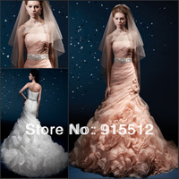 Hot Sale Elegant Strapless Ruched Pleat Court Train Lace Up Custom Made Bridal Wedding Dress