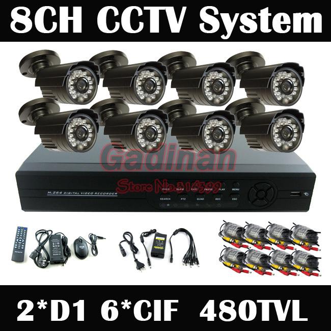 8ch H.264 DVR Kit with 8pcs 480TVL Waterproof IR Cameras 8ch Security Camera Outdoor Cameras Security CCTV System(China (Mainland))