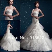 Hot Sale Elegant Strapless Ruched Pleat Lace Up Court Train Custom Made Bridal Wedding Dress