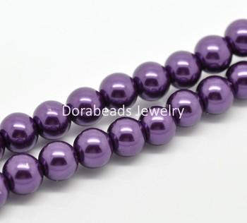 "Free Shipping! 2 Strands Dark Purple Glass Pearl Imitation Round Beads 10mm( 3/8"") Dia.  (B19350)"