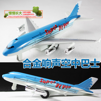 Alloy acoustooptical blue airliner bus toy model