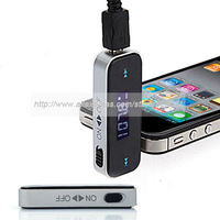 New 3.5mm  LCD Fm Transmitter jack For 5 iPod iPhone 4S Touch Galaxy S2 S3 MP3  smart phone support wholesale