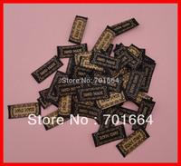 "Bargain for Bulk 1.4cm width 3.3cm length black ribbon label with embroidered golden color  ""handmade"""