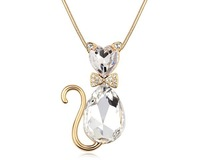 2 Options Crystal Lovely Cat With a Bowtie Pendant Necklace Long Sweater Chain  Gold Plated Jewelry Unique Fashion Hot Jewellery