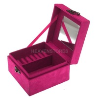 Princess Retro Suede Velvet Jewelry Wedding Gift Storage Box Case 3 Colors hv3n