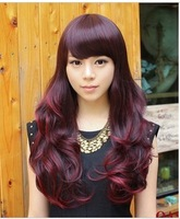 Wig long curly hair wig big wave female Wine dull red elegant wig oblique bangs