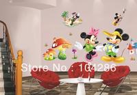 Cartoon wall stickers mickey mouse minnie mouse transparent PVC wall decor kids' room wall decoration 44*63cm 2pcs/lot