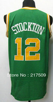 Free shipping New Cheap Basketball Jerseys Utah # 12 Stockton Green Sports Basketball Jersey Embroidered Logo Size S-XXXL