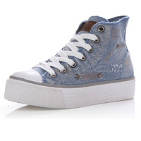 Denim canvas casual shoes high platform shoes elevator shoes candy color women's shoes