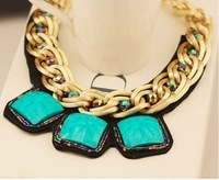 Free Shipping Short gold chain necklace retro turquoise necklace for lady
