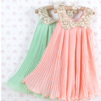 2013 Summer Girls Pleated Chiffon One-Piece Dress With Paillette Collar Children Colthes For Kids Baby, Pink/Green