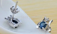 Sapphire stud earring Free sipping Nature real sapphire earring Blue gems 925 sterling silver plated 18k white gold Fine jewels