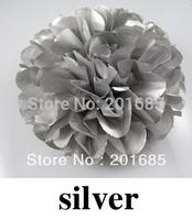 "4""/6""8""/10"" Tissue Paper Pom Poms Flower Balls Wedding Party Shower Baby Birthday Decoration Silver 10pcs"