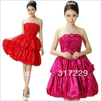New Fashion Woman Korean Style Bra Flowers Princess Dress Toast Short Evening Party Dress FZ095