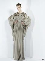 Elegant Grey Chiffon  Three Quarter  Muslim Evening Dress (EVFA-1151)