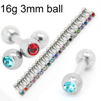 10pcs of  16g 1/4 inch mini steel straight barbell tragus helix piercing studs barbell