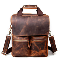 Handmade vintage crazy horse leather personality male vertical briefcase one shoulder cross-body handbag 1072