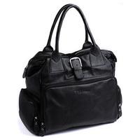 FEDEX free shipping, Cattle brief style large capacity genuine leather bag for women shoulder bag handbag large bag black 1005