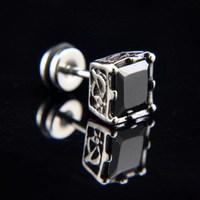 Titanium personality male stud earring earrings in ear elegant black diamond earrings individual non-mainstream