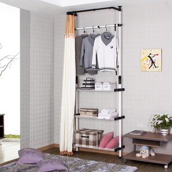 Small simple wardrobe loading combination hangers cloth wardrobe steelframe clothes storage lockers coatroom rack