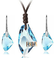 Wholesale-free shipping-New arrived Fashion Jewelry 18KGP plated Wishing Stone Crystal Earrings+Necklace jewelry sets ES043
