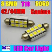 100pcs/lot+ Bright White+heat sink C5W LED Canbus No Error car bulb light Freeshipping  42mm 44mm 8SMD dome bulb festoon