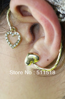 Wholesale heart-shaped ear cuff punk style earring exaggerated flash drilling charms clip earring jewelry LM_C198 FREE SHIPPING