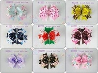 New Free shipping 2013 50pcs/lot wholesale 4.5inch baby solid girl boutique hair ribbon bows with clips,headband No:1200--1220