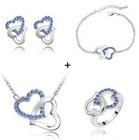free shipping crystal inset heart in heart pendant stud earrings necklace and bracelet jewelry set