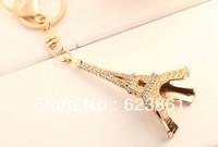 Free Shipping Fashion Retro Rhinestones Eiffel Tower Souvenirs Keyfob Paris Model Metal Keychain Jewelery Gift 2013 hotsale