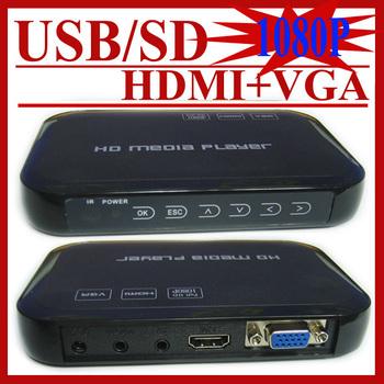 Free Shipping!3D 1080p Full HD Media Player SD/USB Reader Output HDMI/VGA/AV FLV MKV Music