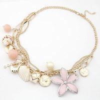Hot Sale Fashion Sea shell Big Flower Pearl Necklaces Pendants Multi Chains Choker Collier For Woman Men Jewelry Bijouterie