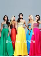 Free shipping 2013 new design chiffon A-line - Swarovski crystal skirt royal blue prom dress