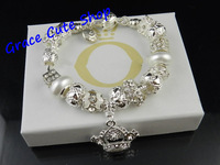 Free Shipping Chinese Style Charms Bracelet White Pearl Beaded Bracelet Silver Plating Hand-Made Top Quality #PB-83