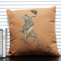 Bike Frog Painted Throw Pillows Covers  Monopoly 1pcs 45 *45cm Wholesale Free Shipping