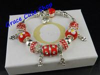 Chinese Style Charms Bracelet Glass Beads Bracelet Silver Plating Free Shipping Hand-Made Top Quality #PB-74-Red