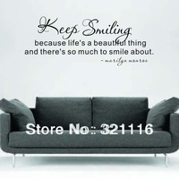 Wholesale Free Shipping Keep Similing English Famous Quotations Wall Stickers-Keep Smiling...(100.0 x 30.0cm/set)