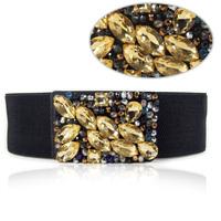 Crystal diamond gem cummerbund black ultra wide fashion elastic belt Women plus size dress accessories broadened