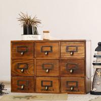 Zakka japanese style solid wood vintage retro finishing 9 lockers storage cabinet drawer cabinet