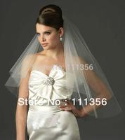 Free shipping Ivory 2T  Bridal Cut Edge Veils Wedding dress Accessories veil +Comb