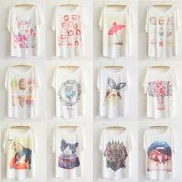Vintage small 2014 fresh print loose batwing shirt short-sleeve T-shirt women's