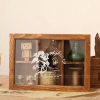 Zakka solid wood vintage retro storage box finishing glass five grid jewelry box