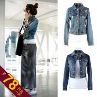 Fashion all-match denim outerwear female long-sleeve short jacket short jacket design denim top coat autumn women's