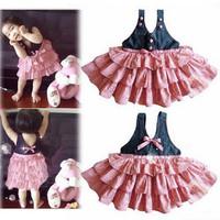 Children's Dresses baby girl's layered dress fashion denim tank dress pink color free shipping