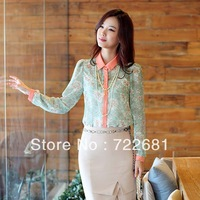 New Fashion 1pcs Women Summer Long Sleeve Flower Print Chiffon Top Shirt Blouse Size S/M/L/XL