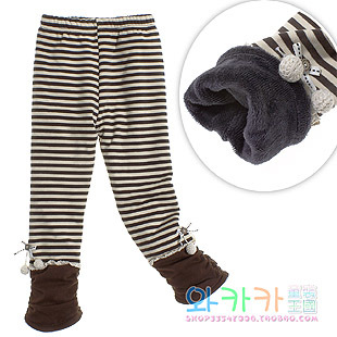 Child winter 100% cotton thickening legging children's female child clothing stripe baby plus velvet trousers 3036